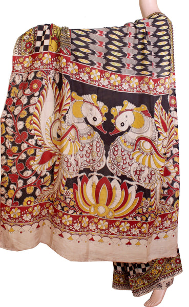 Kalamkari Crepe Silk Saree pattern with Peacock in pallu (21198A)* Sale 60% Off  *, Sarees - Swadeshi Boutique