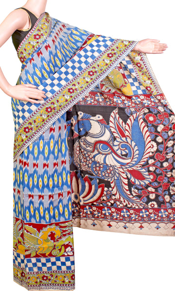 Kalamkari crepe Silk pattern Saree with Peacock pallu (21198D) *Sale 60% Off*, Sarees - Swadeshi Boutique