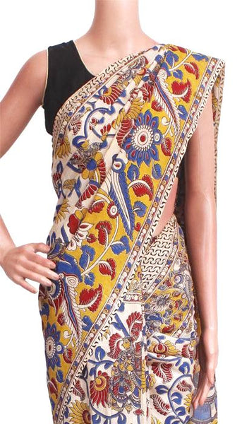 Kalamkari Crepe Silk Saree pattern with Peacock in Border & pallu - Beige (21220A) *Rs.500 off*, Sarees - Swadeshi Boutique