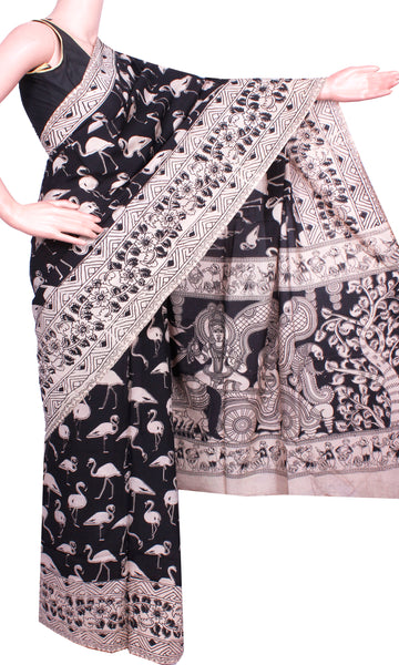 Kalamkari Crepe Silk Saree pattern with Cranes in Body - Black (21225B)