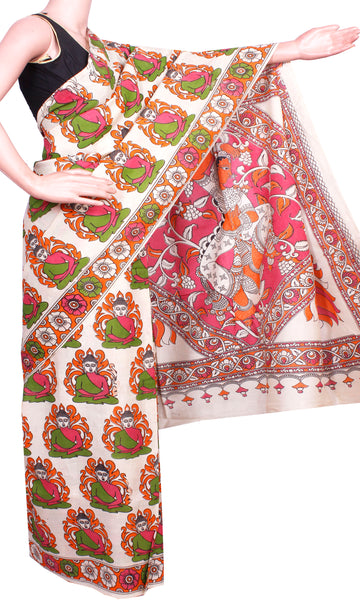 * Aadi Sale 50% Off * Kalamkari Crepe Silk Saree pattern with Bhuddha in body (21231A)