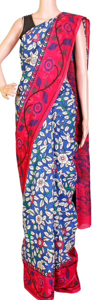 Kalamkari crepe Silk Saree pattern with Peacock in pallu (Blue & maroon) (21232A) *Sale Rs.500 Off*, Sarees - Swadeshi Boutique