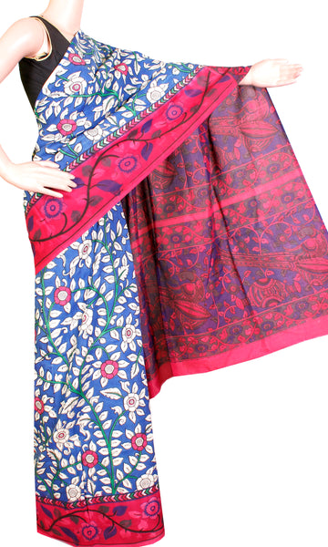 Kalamkari Crepe Silk Saree pattern with Florals in body & Peacock, music instrument in pallu (21232A), Sarees - Swadeshi Boutique