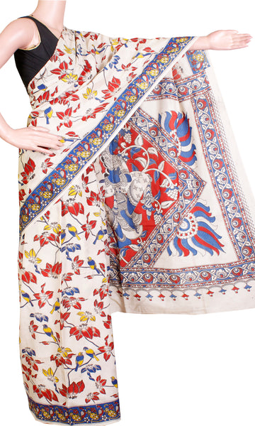 Kalamkari crepe Silk Saree pattern with Peacock in Pallu (21240A) - Swadeshi Boutique