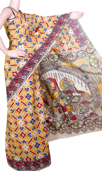 Kalamkari Crepe Silk Saree pattern with symbols in Body & Music instruments in Border - Yellow (21259A)