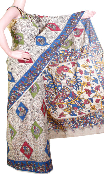 Kalamkari Crepe Silk Saree with a beautiful body design and a Peacock Pallu - Blue( 21263B)