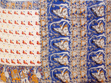 Kalamkari Crepe Silk Saree pattern with Peacock in Body & Deer, Elephant in Border - Beige (21268A)