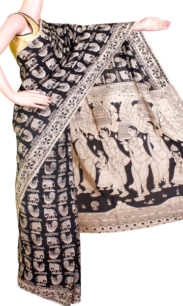 Kalamkari Crepe Silk Saree pattern with Elephant & Peacock in Body (21281A)