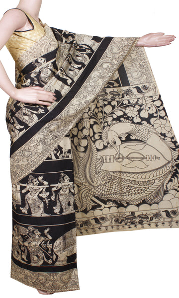 * Final one Rs.150 Off * Kalamkari Crepe Silk Saree pattern with Elephants&Pallaku in Body -(Black)21294A