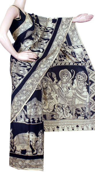 Kalamkari Crepe Silk Saree pattern with Pallaku in Body and Dhasavatharam in pallu -(Black)21294B