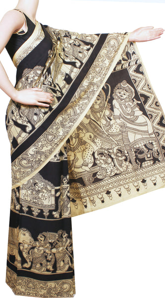 * Rs.200 off * Kalamkari Crepe Silk Saree pattern with Pallaku in Body and Dhasavatharam in pallu EXCLUSIVE Design-(Black)21294D