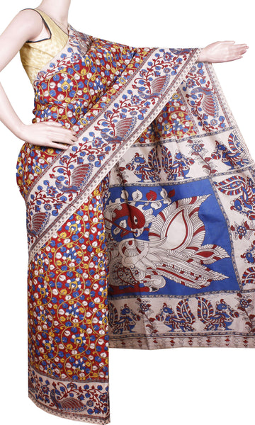 Kalamkari crepe Silk Saree pattern with Peacock in Border and Pallu-(Beige) 21300A, Sarees - Swadeshi Boutique