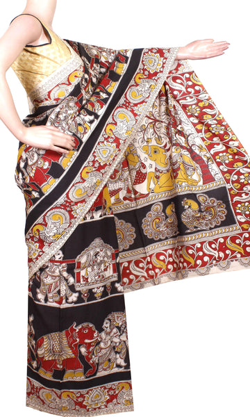 Kalamkari Crepe Silk Saree pattern Elephant in Body with Peacock in Pallu-(Black) 21302A* Rs.200 Off! Only 2 left *, Sarees - Swadeshi Boutique