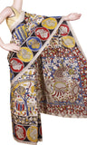 Kalamkari crepe Silk Saree pattern with Peacock on Border and Pallu-(Beige) 21306A. *Sale 50% Off* - Swadeshi Boutique