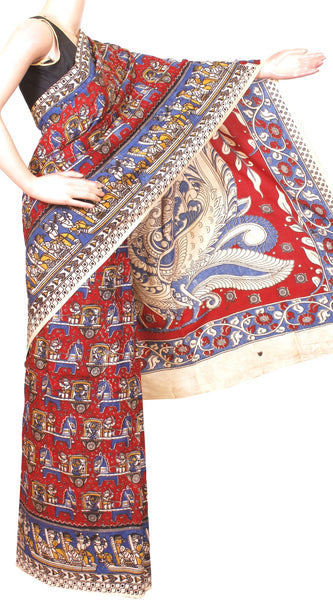 Kalamkari Crepe Silk Saree pattern with Border and Peacock in Pallu-(Red) 21309A * Sale 60% off*, Sarees - Swadeshi Boutique