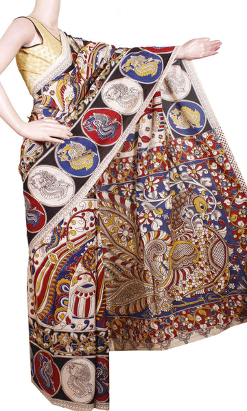 Kalamkari Crepe Silk Saree pattern with Peacock in Border and Pallu-(Beige) 21311A, Sarees - Swadeshi Boutique