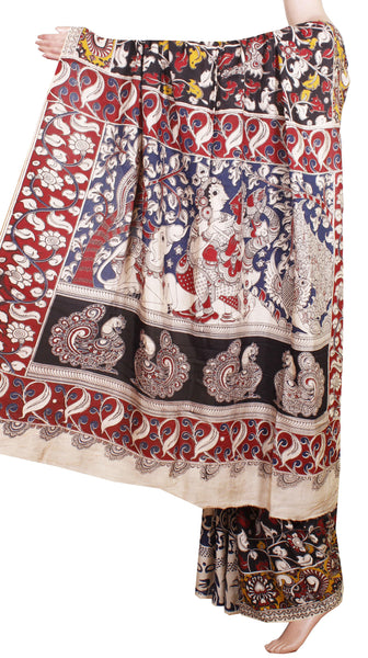 Kalamkari Crepe Silk Saree pattern with Beautiful Border and Pallu-(Black) 21320A *sale 50% Off*, Sarees - Swadeshi Boutique