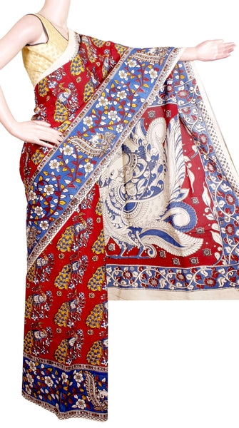 Kalamkari Crepe Silk Saree pattern with Peacock in Border-(Red) 21321A *Sale 60% Off*, Sarees - Swadeshi Boutique