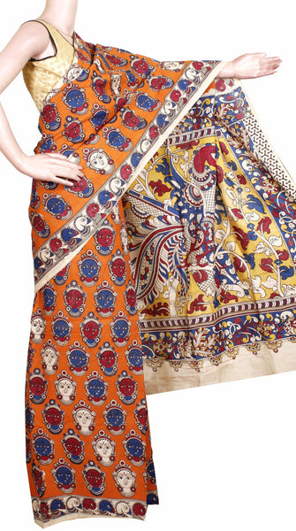 AADI SALE (50+%  OFF): Kalamkari Crepe Silk dyed Saree pattern with Small Devi Faces in Body and Peacock in Pallu (AD21322A)[Without Blouse]