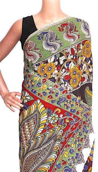 Kalamkari Crepe Silk Saree with Peacock on Body and Pallu- 21329A * Sale 60% off *, Sarees - Swadeshi Boutique