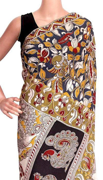 Kalamkari Crepe Silk Saree with Peacock on Body and Pallu- 21331A, Sarees - Swadeshi Boutique