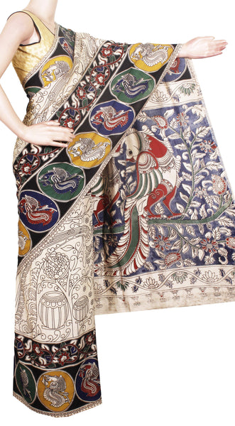 Kalamkari Crepe Silk Saree pattern with Peacock in Body and Pallu-(Beige) 21330B