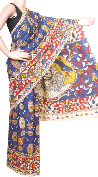 Kalamkari Crepe Silk Saree pattern Music Instruments in Body Peacock in Border and Pallu-(Blue) 21354A* No GST Sale Rs.200 off *, Sarees - Swadeshi Boutique