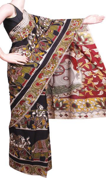 Kalamkari Crepe Silk Saree pattern with Elephants & Pallaku in Body -(Black)21340H