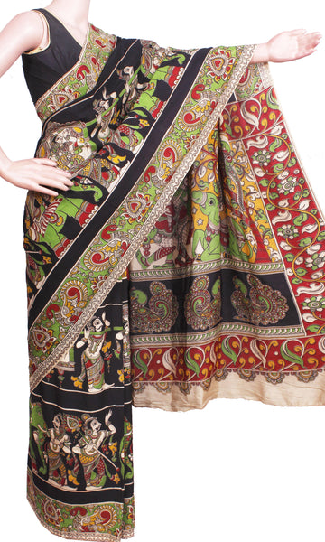 Kalamkari Crepe Silk Saree pattern with Elephants & Pallaku in Body -(Black)21340K, Sarees - Swadeshi Boutique