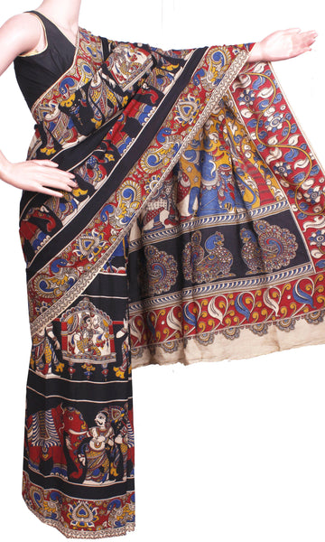Kalamkari Crepe Silk Saree pattern with Elephants & Pallaku in Body -(Black)21340M - Swadeshi Boutique