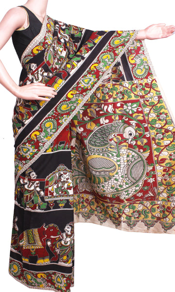Kalamkari Crepe Silk Saree pattern with Elephants & Pallaku in Body -(Black)21340P - Swadeshi Boutique