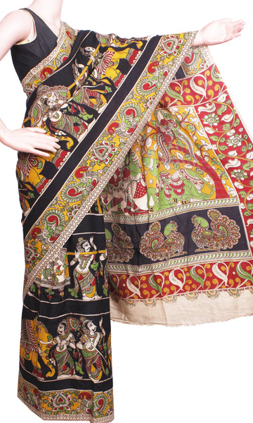 Kalamkari Crepe Silk Saree pattern with Elephants & Pallaku in Body -(Black)21340R, Sarees - Swadeshi Boutique