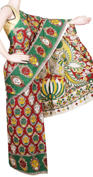 Kalamkari Crepe Silk Saree pattern with Devi Face in Body and Peacock in Pallu-(Red & Green) 21342A, Sarees - Swadeshi Boutique