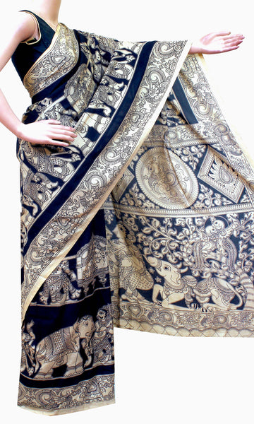 Kalamkari crepe silk saree pattern with Elephants&Pallaku -(Black)21344A *Rs.200 off*