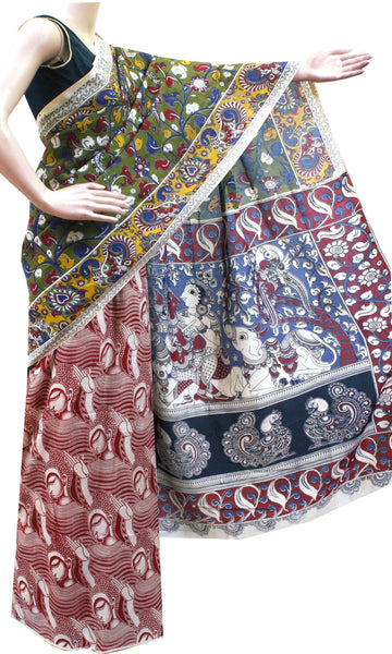 AADI SALE (50+%  OFF): Kalamkari Crepe Silk dyed Saree pattern with Buddha in Body and Krishna-Ratha in Pallu (AD21344A)