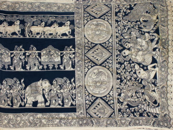 Kalamkari crepe silk saree pattern with Elephants&Pallaku -(Black)21344A *Rs.200 off*, Sarees - Swadeshi Boutique