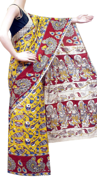 Kalamkari Crepe Silk Saree pattern with Music Instruments in Body and peacock in Border and pallu -(Yellow)21348A