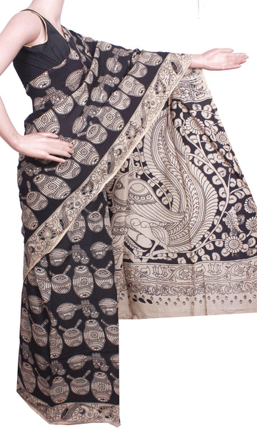 Kalamkari Crepe Silk Saree pattern with Music Instruments in Body and Peacock in pallu -(Black)21350A* No GST SALE Rs.200 Off *, Sarees - Swadeshi Boutique