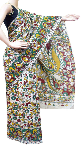 Kalamkari Crepe Silk Saree pattern with Flourals in Body and Peacock in Border and pallu -(Beige)21351A, Sarees - Swadeshi Boutique