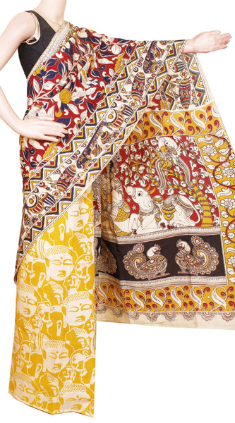 Kalamkari Crepe Silk Saree pattern with Flourals in Body and Beautiful Patly Design -(Red & Yellow))21352A