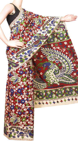 Kalamkari Crepe Silk Saree pattern with Music Instruments in Border Peacock in Body and Pallu-(Red) 21358A