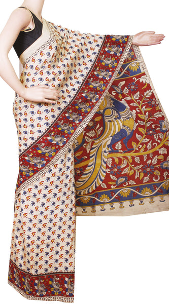 * Clearance sale + Free Jhimkis * Kalamkari Crepe Silk Saree pattern with Beautiful Border and Peacock in Pallu-(Beige) 21359A