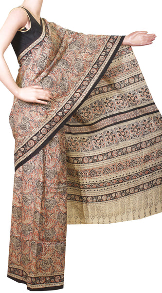 * Intro price Rs.200 off * Kalamkari Crepe Silk Saree Popular block-print pattern with an attached blouse material -(Beige & Peach) 21360A