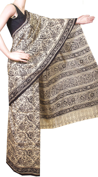 * Intro price Rs.250 off * Kalamkari Crepe Silk Saree Popular block-print pattern with an attached blouse material -(Beige) 21361A, Sarees - Swadeshi Boutique