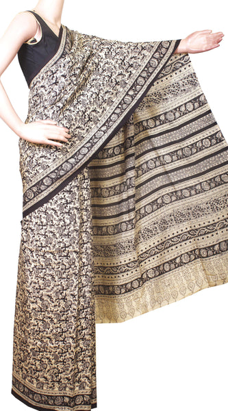 * Intro price Rs.200 off * Kalamkari Crepe Silk Saree Popular block-print pattern with an attached blouse material -(Beige) 21362A