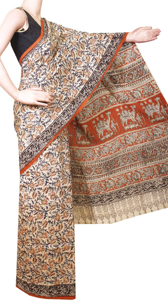 * Intro price Rs.200 off * Kalamkari Crepe Silk Saree Popular block-print pattern with an attached blouse material -(Beige) 21363A