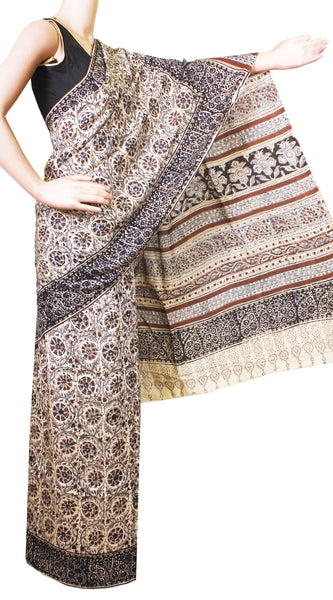 * Intro price Rs.200 off * Kalamkari Crepe Silk Saree Popular block-print pattern with an attached blouse material -(Beige) 21366A
