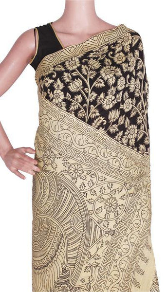 Kalamkari crepe Silk Saree pattern with Peacock in Border and Pallu-(Black) 21371A, Sarees - Swadeshi Boutique