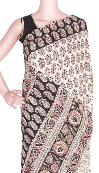 Kalamkari crepe Silk Saree block-print with an attached blouse material -(Beige) 21372A, Sarees - Swadeshi Boutique
