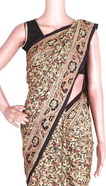 Kalamkari crepe Silk Saree block-print with an attached blouse material -(Beige) 21373A, Sarees - Swadeshi Boutique